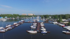 Lot of boats are on moorage in yacht clubs Aurora and Vodnik Stock Footage