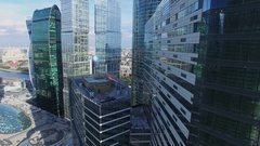Skyscrapers of Moscow International Business Center and Novotel trade centre Stock Footage
