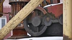 Old mechanism wheel machine from a crane clockwork gears Stock Footage