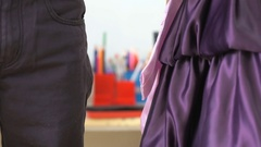 Little boy and girl holding hands in kindergarten Stock Footage