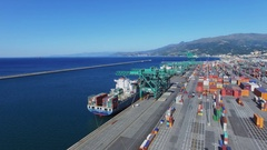 Panorama of Voltri Terminal Europa with ships on moorage Stock Footage