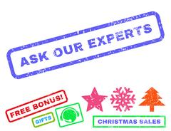 Ask Our Experts Rubber Stamp Stock Illustration
