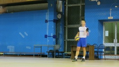 Men hit balls during volleyball training in gym of MIREA. Stock Footage