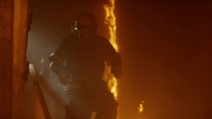 Brave Firefighters Run Down The Burning Stairs. In Slow Motion. Raging Fire Stock Footage