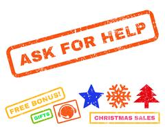 Ask For Help Rubber Stamp Stock Illustration