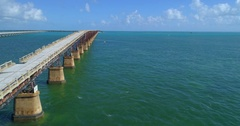 Old overseas rail road Florida Keys Stock Footage