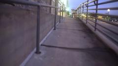 Brenham, Texas - January 1 2017- walking shot at dusk of a wheelchair access r Stock Footage