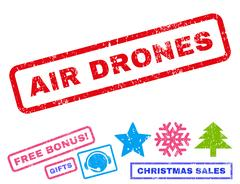 Air Drones Text Rubber Seal Stamp Watermark With Bonus Christmas Symbols Piirros