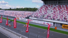 People watch start of auto racing on stadium at summer day. Stock Footage