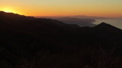 Sunrise pre dawn with coastal mountains Stock Footage