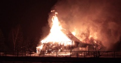 Horse stable on fire. Stock Footage