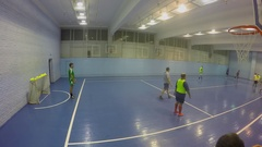 Two teams play football in gym of Olympiysky sports complex Stock Footage