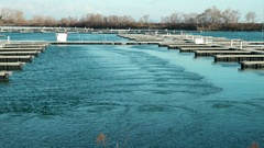 Empty mooring docks in January. Stock Footage