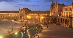 Plaza de Espana in the evening in Seville Stock Footage