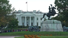 White House north lawn with statue - Washington DC Stock Footage
