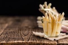 Portion of white Asparagus (close-up shot) Stock Photos