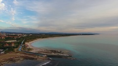 Aerial shot, incredibly beautiful calm sea in the sunset light with lot.. Stock Footage