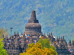 People and tourists in colorful clothes with umbrellas visiting Borobudur Temple Stock Footage