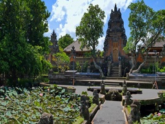 Pura Taman Sarawati Temple or Water Palace ancient traditional architecture Stock Footage