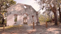 Slow motion slider shot of church ruin on St Helena Island in South Carolina Stock Footage