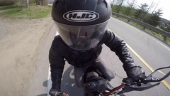 Go pro motorcycle unique and fun angle Stock Footage