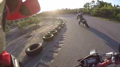Supermoto race track helmet cam slow motion go pro Stock Footage