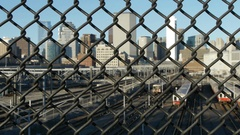 Boston Behind Chain Link Fence Stock Footage
