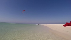 POV of a young man kite surfing in Egypt. Stock Footage
