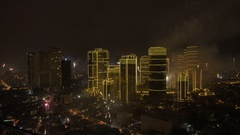 New Year`s Eve Fireworks in Manila, Philippines 2017 January 1. Stock Footage