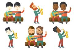 Vector set of musicians characters Stock Illustration