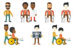 Vector set of doctor characters and patients Stock Illustration