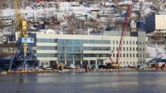 Marine station in sea port Petropavlovsk-Kamchatsky on Kamchatka Peninsula Stock Footage