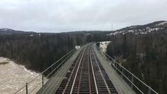Train on Tracks Time Lapse Snowy Winter Landscape Stock Footage