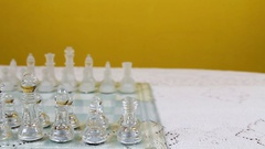 Chess Men Set Up In Starting Position On Board Stock Footage