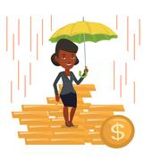 Business woman insurance agent with umbrella Stock Illustration