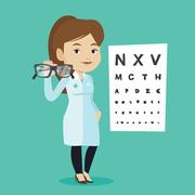 Professional ophthalmologist holding eyeglasses Stock Illustration