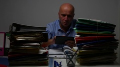 Businessman at Work Use Tablet and Agenda Organizing Internal Information. Stock Footage