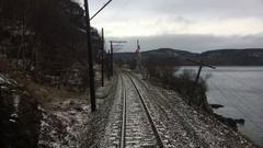 Train Time Lapse Around Lake Winter Landscape Stock Footage