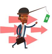 Businessman trying to catch money on fishing rod Stock Illustration