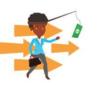Businesswoman trying to catch money on fishing rod Stock Illustration