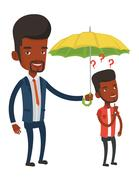 Businessman holding umbrella over young man Stock Illustration
