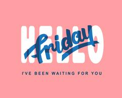 Hello Friday. Weekend trendy lettering Stock Illustration
