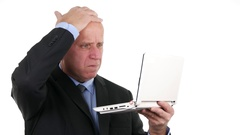 Upset Salesman Using Laptop Access Email Box Read Disappointing Financial News. Stock Footage
