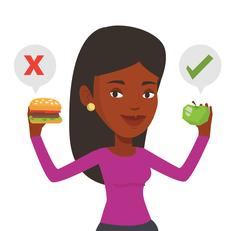 Woman choosing between hamburger and cupcake Stock Illustration