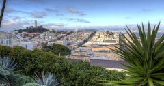 San Francisco view over North Beach and Coit Tower Stock Footage