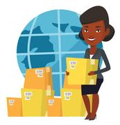 Business worker of international delivery service Stock Illustration