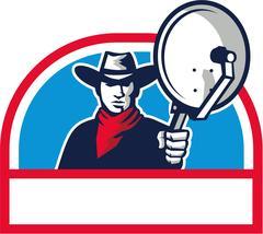 Cowboy Aiming Satellite Dish Half Circle Retro Stock Illustration
