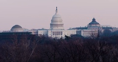US Capitol, Washington DC Winter Evening cooler look with birds flying Arkistovideo