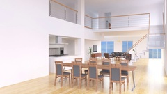 Modern and bright living room and kitchen Stock Footage