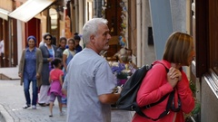 Tourists exploring and walking around the streets of a European city. Stock Footage